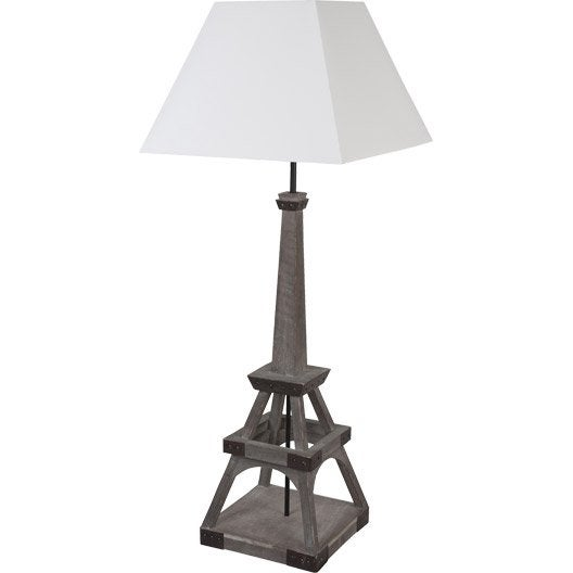 lampe tour eiffel corep coton sur pvc blanc 100 w leroy merlin. Black Bedroom Furniture Sets. Home Design Ideas