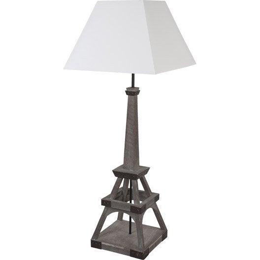 lampe tour eiffel corep coton sur pvc blanc 100 w leroy merlin. Black Bedroom Furniture Sets. Home Design Ideas