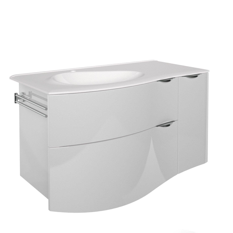 Meuble vasque 100 cm blanc elegance leroy merlin Meuble salle de bain 80 cm leroy merlin