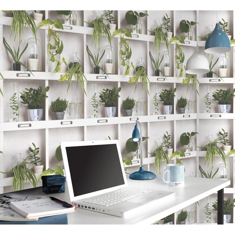 Papier peint intissé Etagère végétale blanc | Leroy Merlin