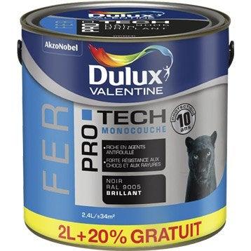 Peinture fer extérieur Pro tech  DULUX VALENTINE, noir, 2 l