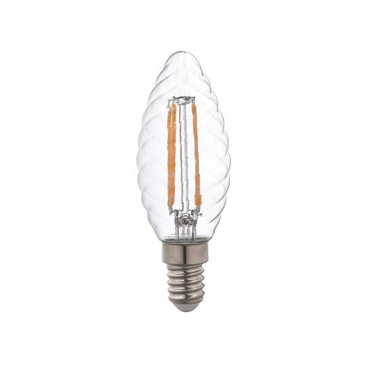ampoule led filament flamme torsad e e14 4w 470lm quiv 40w 4000k lexman leroy merlin. Black Bedroom Furniture Sets. Home Design Ideas