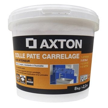 Colle en pâte Prêt à l'emploi pour carrelage mur, 8 kg, blanc