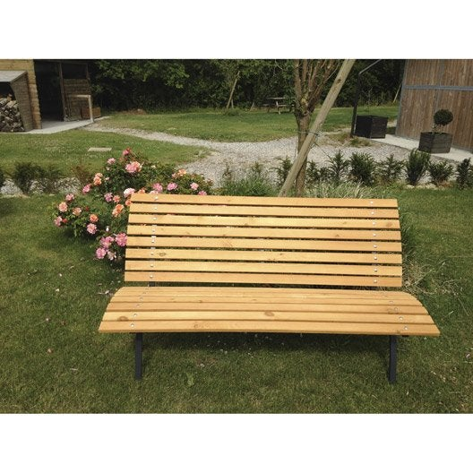 banc 3 places de jardin en bois parisien chêne   leroy merlin