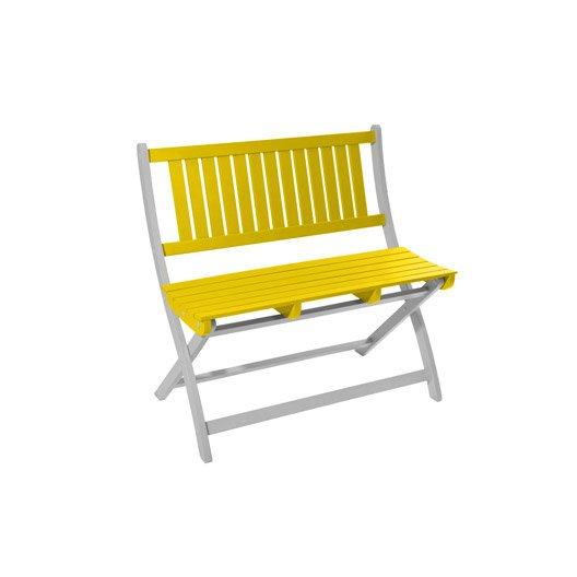 banc 2 places de jardin en bois burano limoncello leroy merlin. Black Bedroom Furniture Sets. Home Design Ideas