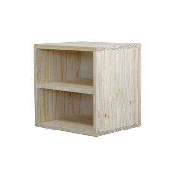 Etagère 1 case DECOKAZ, pin H.36 x l.36 x P.32 cm