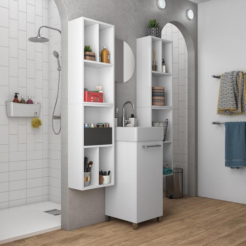Meuble Simple Vasque Encastrée L37 X H70 X P40 Cm Blanc Easy