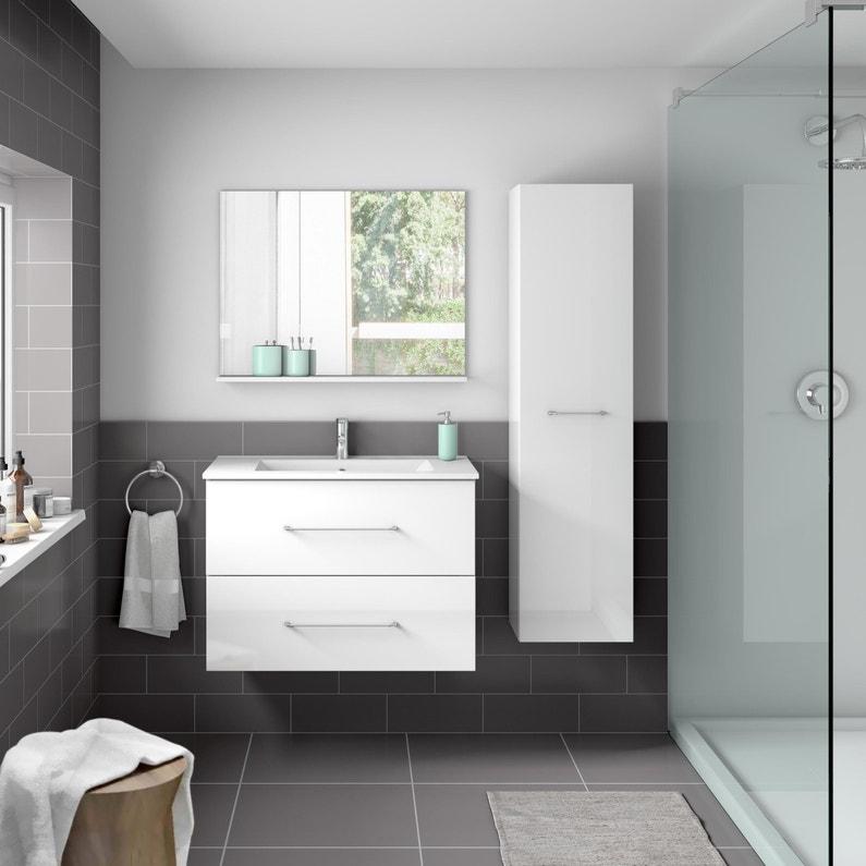 Meuble De Salle Bains Clik L71 Blanc Simple Vasque