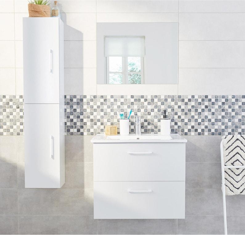 Meuble Salle De Bain Essential.Meuble Simple Vasque L 60 X H 53 X P 44 1 Cm Blanc Essential