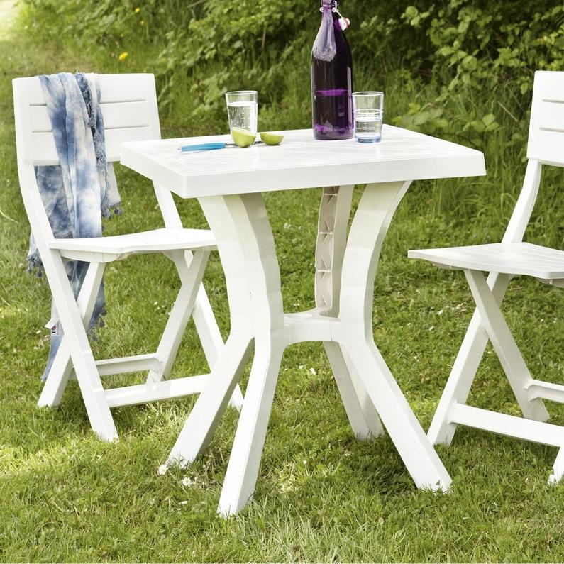 Table De Jardin De Repas Rigoletto Carrée Blanc 2 Personnes Leroy