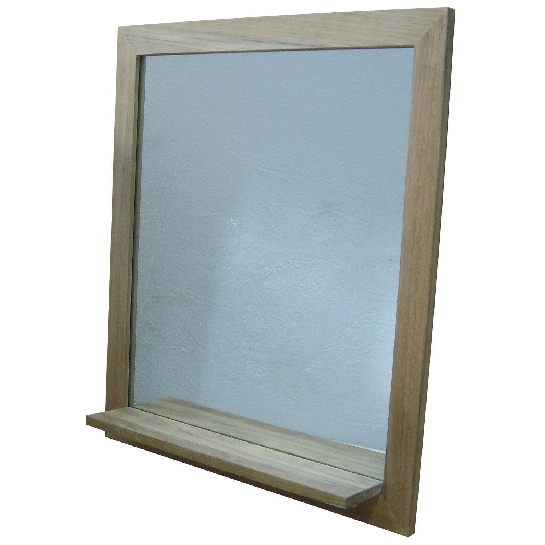 Miroir en teck naturel avec tablette Wellington, L80xH70xP12 cm ...