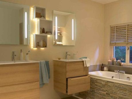 tout savoir sur l 39 clairage dans la salle de bains leroy merlin. Black Bedroom Furniture Sets. Home Design Ideas