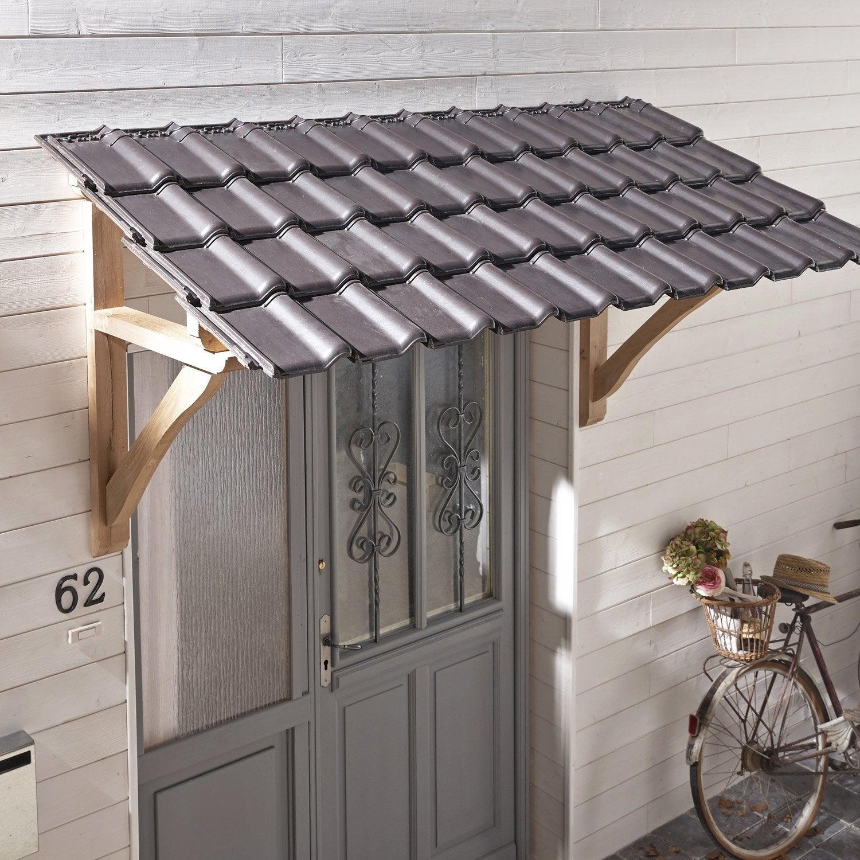 Auvent en kit standard x x cm leroy - Auvent porte de garage ...