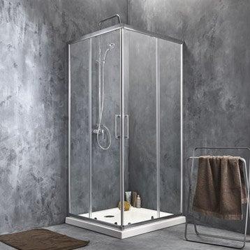 Porte de douche coulissante angle carré l.80 x L.80 cm, chromé, Remix2