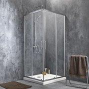 Porte de douche coulissante angle carré l.90 x L.90 cm, chromé, Remix2
