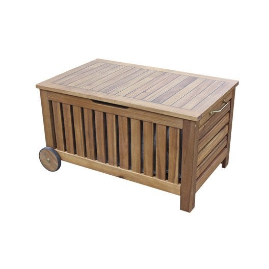 Banc 2 places de jardin en bois porto brun leroy merlin for Table exterieur leroy merlin
