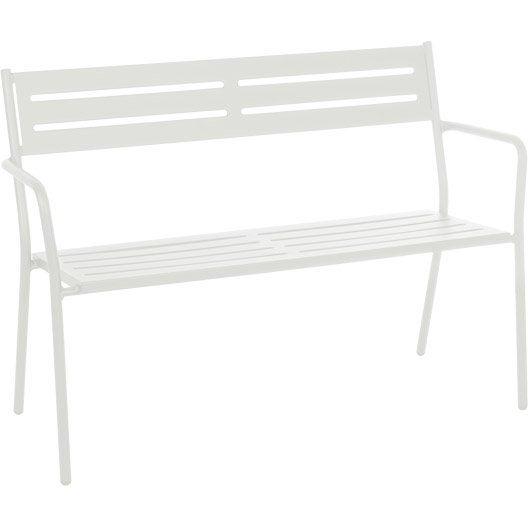 banc 2 places de jardin en acier trevi blanc leroy merlin. Black Bedroom Furniture Sets. Home Design Ideas