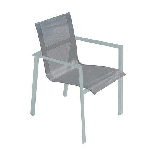 fauteuil de jardin en aluminium orlando gris galet leroy merlin. Black Bedroom Furniture Sets. Home Design Ideas