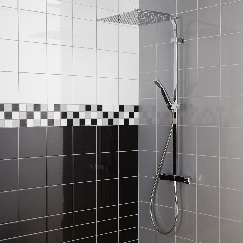 Faïence mur noir-noir n°0 brillant l.10 x L.20 cm, Astuce | Leroy Merlin