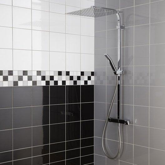 Fa ence mur noir noir astuce x cm leroy merlin - Faience salle de bain noir et blanc ...