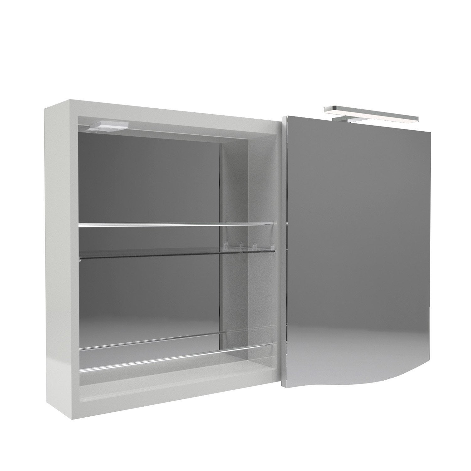 armoire de toilette lumineuse l 100 cm gris decotec el gance leroy merlin. Black Bedroom Furniture Sets. Home Design Ideas