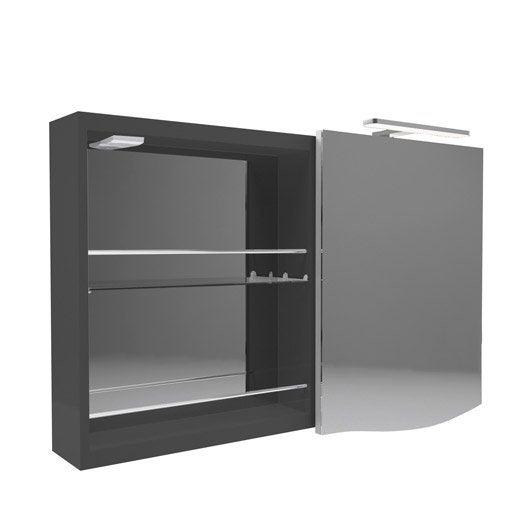 armoire de toilette lumineuse l 100 cm noir decotec el gance leroy merlin. Black Bedroom Furniture Sets. Home Design Ideas