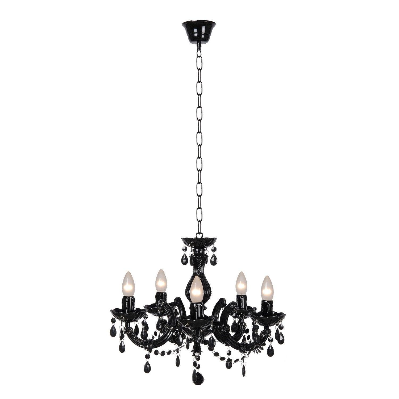 Suspension, baroque acrylique noir LUCIDE Arabesque 5 lumière(s) D.48 cm