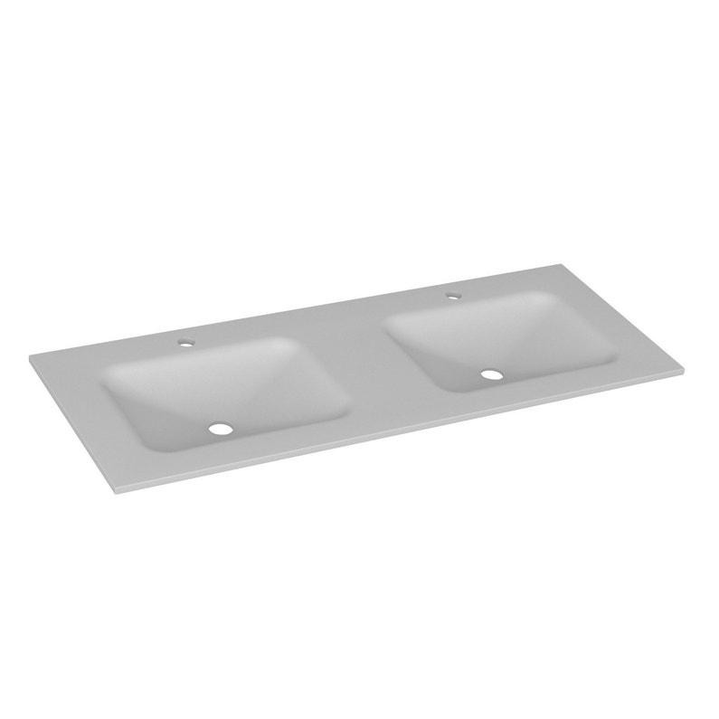 Plan vasque double Opale Verre trempé 121 cm