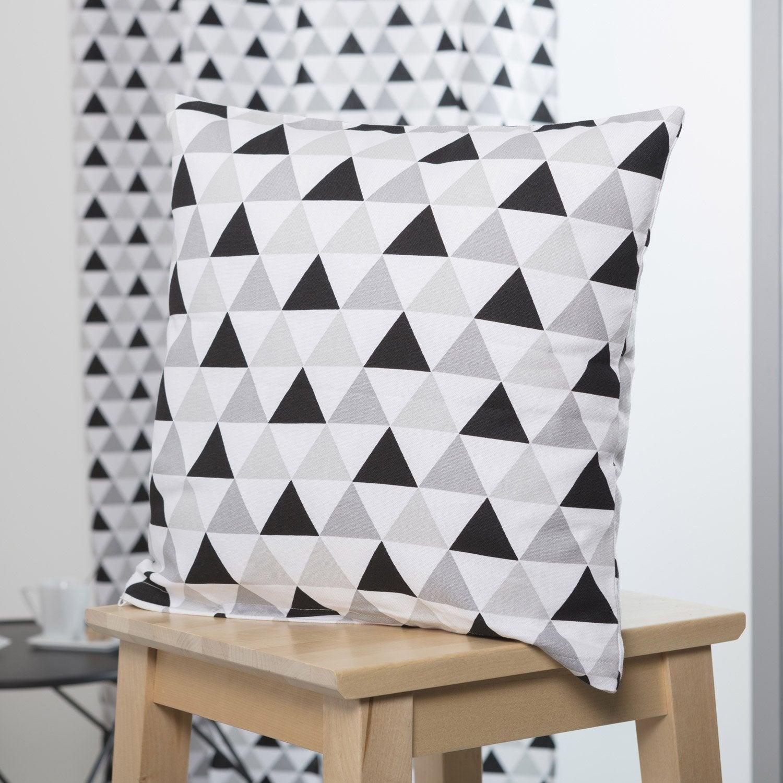 Coussin Jacob, blanc gris noir l.40 x H.40 cm