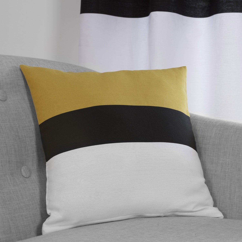 Coussin Yellow, jaune / noir / blanc l.40