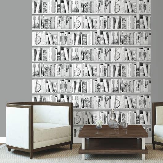 papier peint intiss biblioth que brooklyn gris fonc. Black Bedroom Furniture Sets. Home Design Ideas