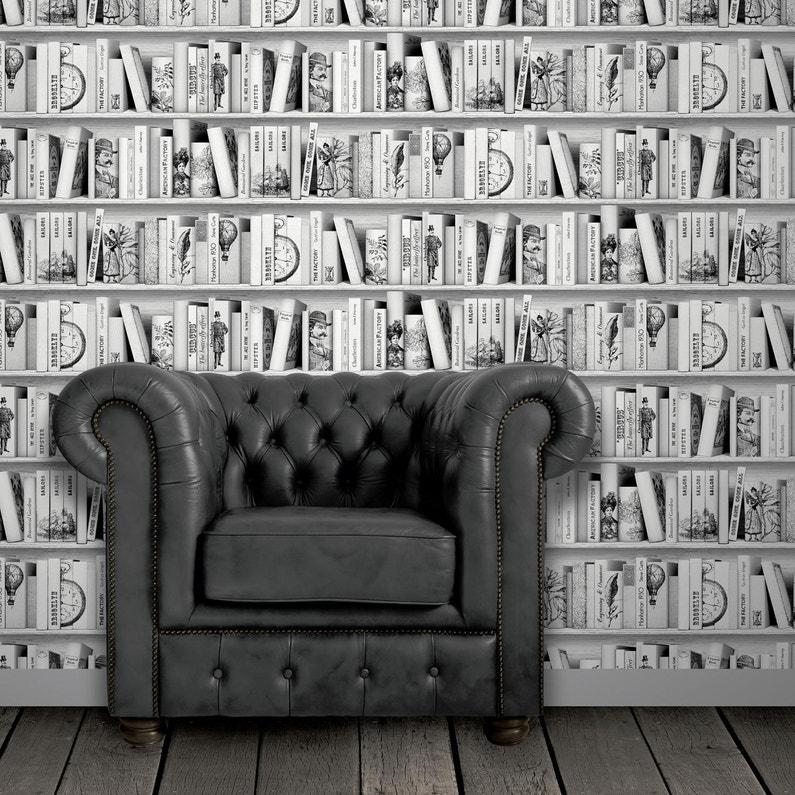 Papier peint intissé Bibliothèque brooklyn gris foncé | Leroy Merlin