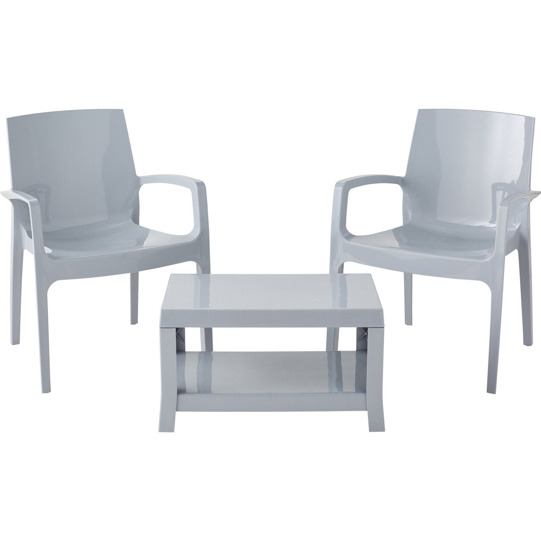 salon bas de jardin glossy gris 2 personnes leroy merlin. Black Bedroom Furniture Sets. Home Design Ideas