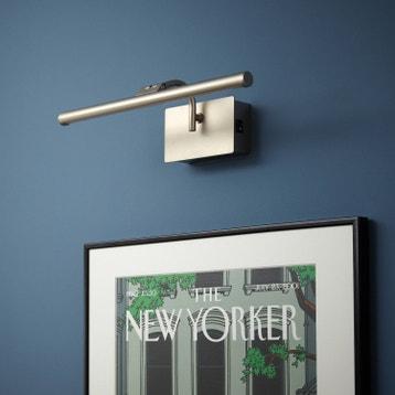 Applique tableau moderne led intégrée sticky aluminium nickel mat 1 inspire