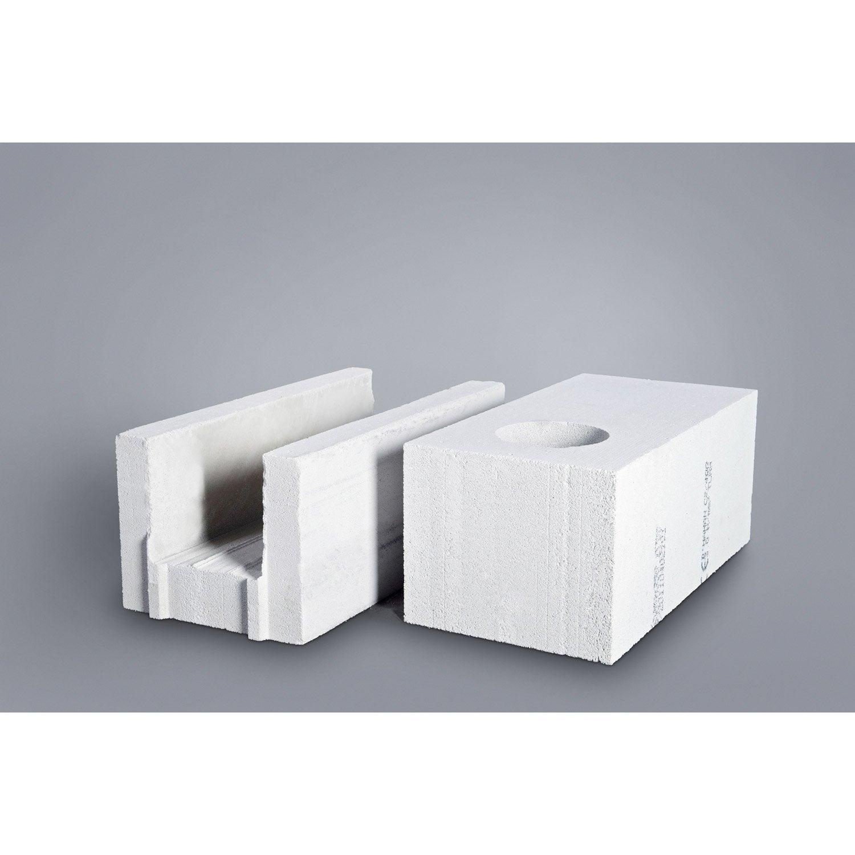 bloc béton cellulaire de chaînage cellumat 20x25x60 cm   leroy merlin
