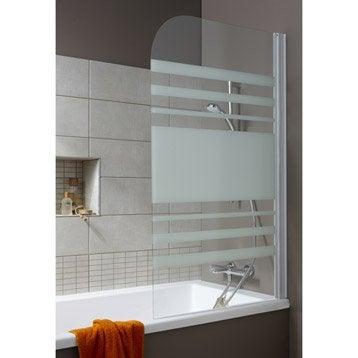 pare baignoire 1 volet nerea verre s curit 4 mm blanc. Black Bedroom Furniture Sets. Home Design Ideas