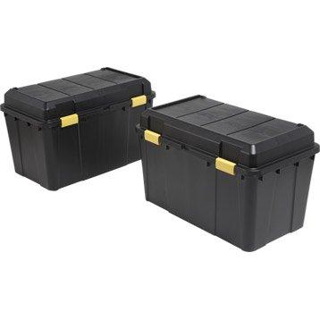 Lot de 2 malles en plastiques, 115 litres, noires