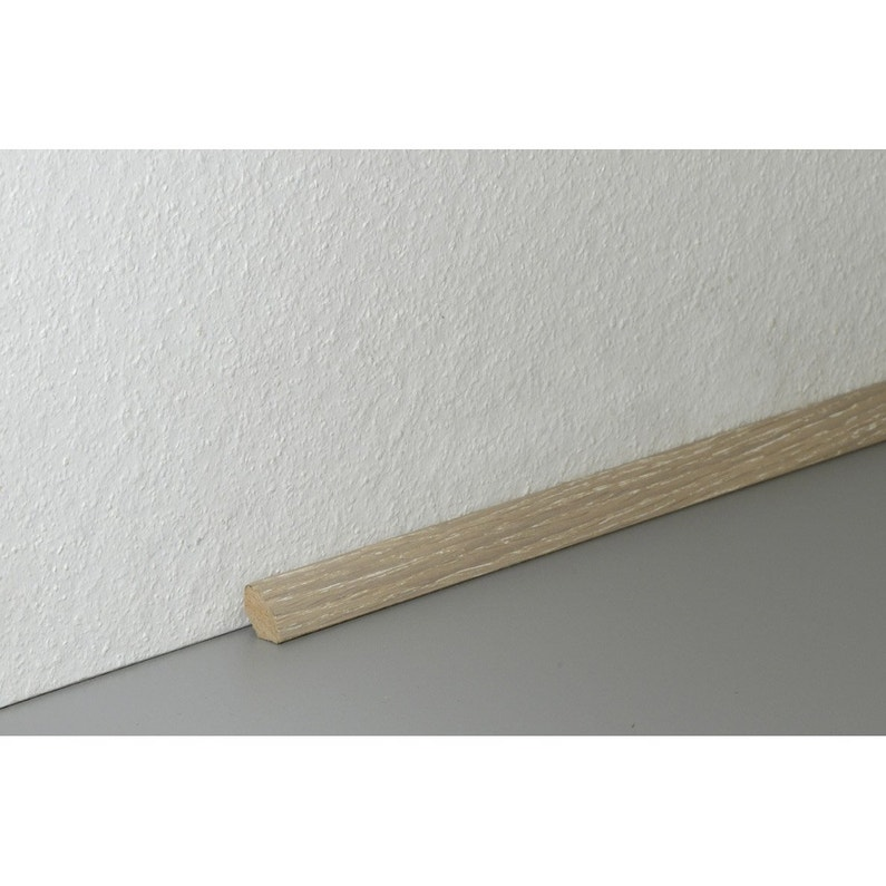 quart-de-rond parquet plaqué chêne blanchi, l.220 cm x h.14 x ep.14