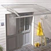 Auvent en kit Lightline XL transparent, structure en inox, 205 x 25 x 142 cm