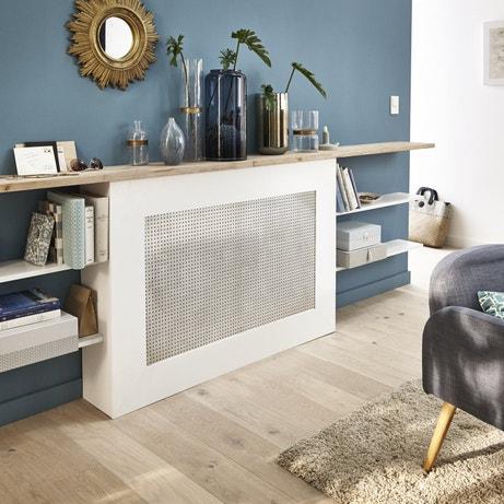 Un cache radiateur et une mur bleu baltique