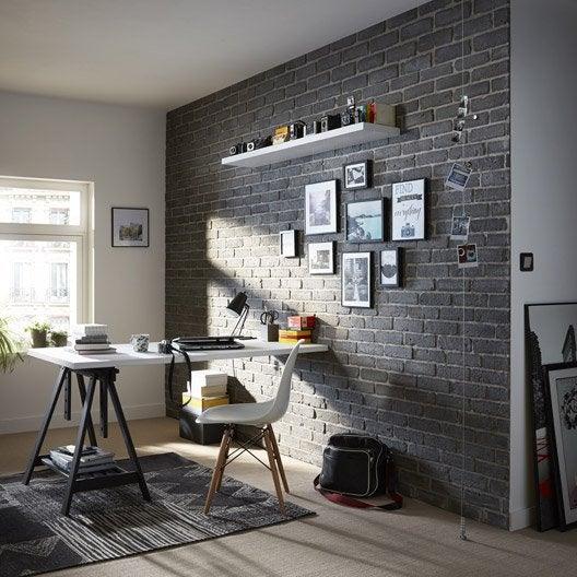 Plaquette de parement b ton anthracite atelier leroy merlin - Cuisine en bois avec beton pierre metal ...