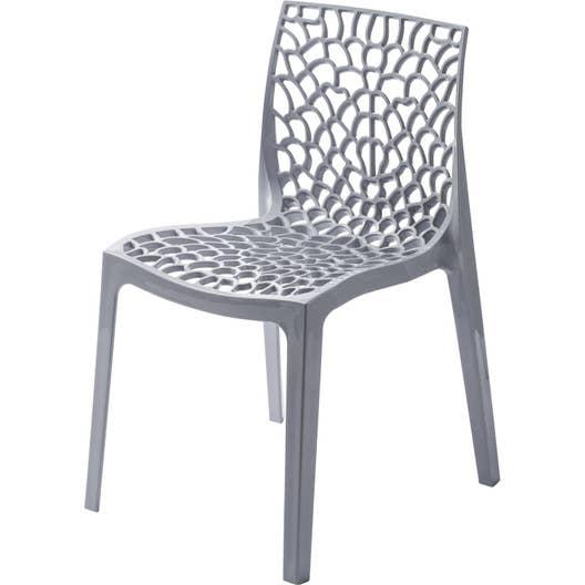 Chaise de jardin en résine Grafik gris perle | Leroy Merlin