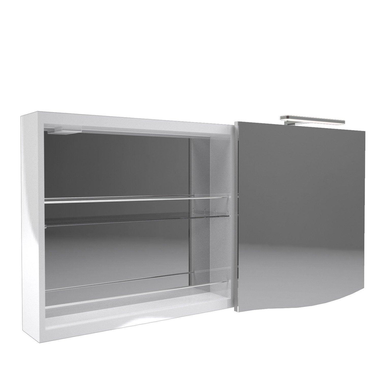 armoire de toilette lumineuse l 130 cm blanc decotec el gance leroy merlin. Black Bedroom Furniture Sets. Home Design Ideas