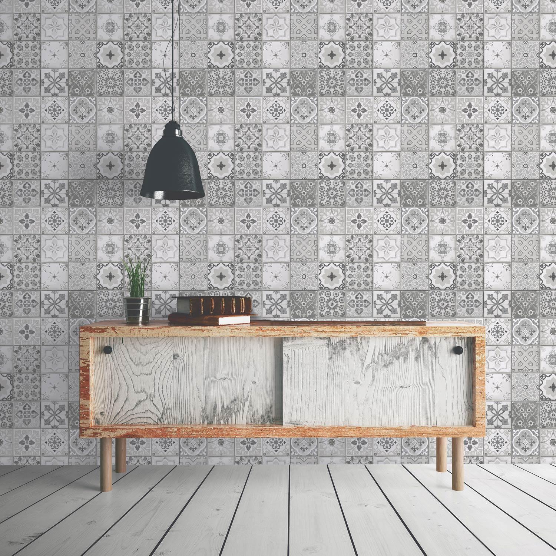 Papier peint intissé Carreau ciment gris