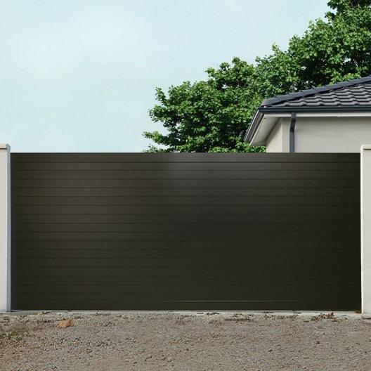 portail coulissant aluminium concarneau marron naterial cm x cm leroy merlin. Black Bedroom Furniture Sets. Home Design Ideas