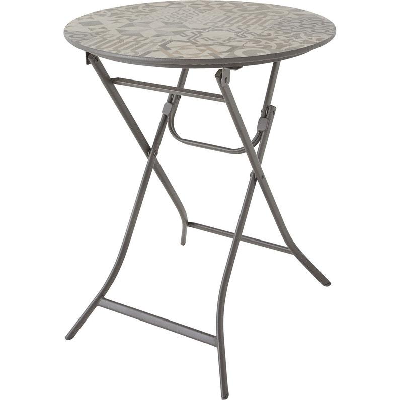 Table de jardin de repas Gatsby ronde gris et taupe 2 personnes ...