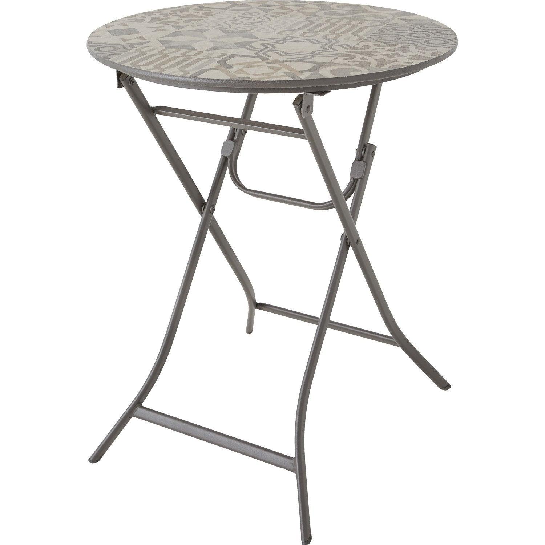 Table de jardin de repas Gatsby ronde gris et taupe 2 personnes
