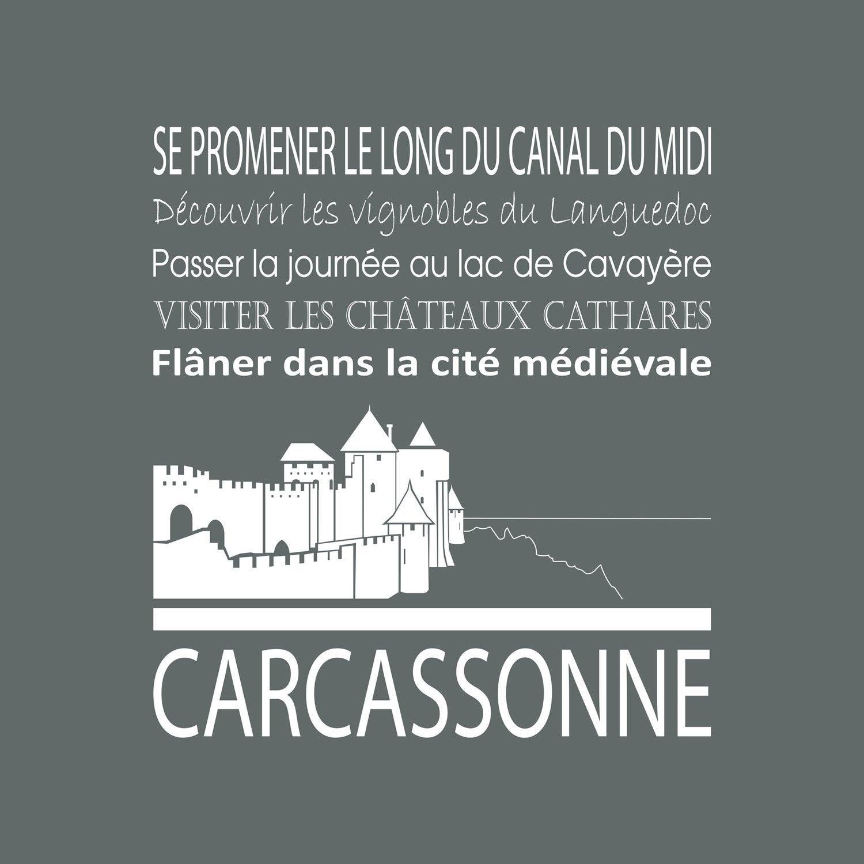 Toile Imprimée Carcassonne Gris Artis L30 X H30 Cm