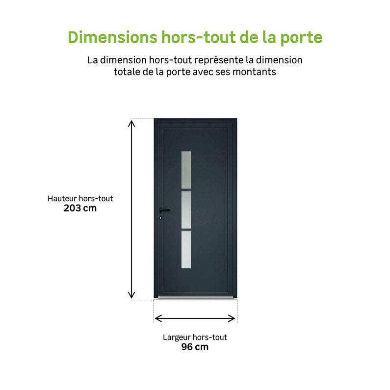 Porte De Service Alu H200 X L90 Cm Vitrée Gris Anthracite Poussant Gauche