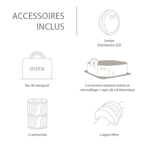 Spa Gonflable Intex Pure Spa Bulles Led Rond 4 Places Assises